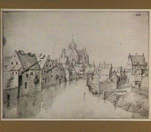 Stadsgezicht in Mechelen met de Onze-Lieve-Vrouwe-over-de- Dijlekerk