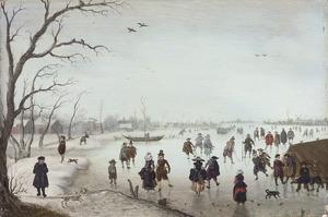 Winterlandschap met schaatsende figuren op een bevroren rivier