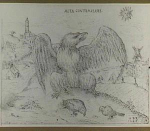 Allegorie met een adelaar die twee vogels beschutting biedt