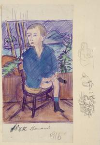 Portret van een jongetje op een stoel