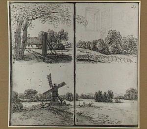 Landschap met boerderij, landschap met weidemolen en studie van een venster, een kan en een schaal