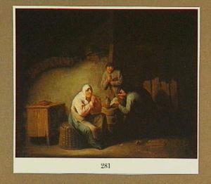 Musicerende boeren in een interieur