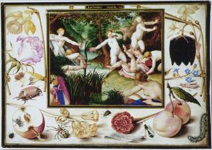 Lethaeus Amor in een omlijsting met boemen, vruchten en insecten (Ovidius, Remedia Amoris)