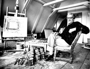 Portret van Eugène Brands in zijn atelier