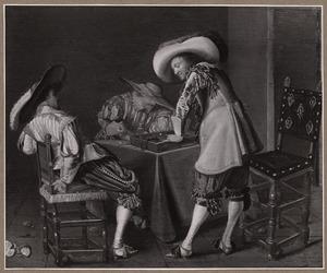 Triktrakspelende, drinkende en rokende mannen in een interieur