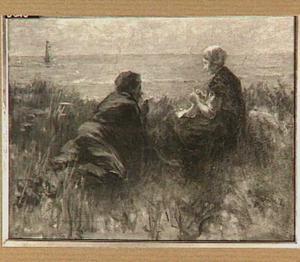 Een jongen en een meisje op een duintop