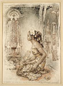 Ni Tjawan met offers in de tempel