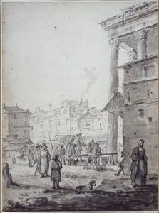 Markttafereel in een Italiaanse stad
