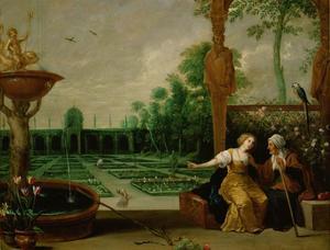 Vertumnus en Pomona in een formele tuin