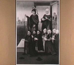 De HH. Sebastiaan en Anna met stichters (oorspronkelijk de binnenzijde van het rechterluik van het drieluik van de schuitenvoerders in de St. Jacobskerk te Utrecht)