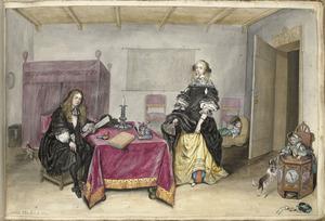 Portret van Sijbrant Schellinger (1660-ca. 1687) en Jenneken ter Borch (1640-1675) met twee kinderen