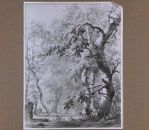 Boslandschap met drie figuren