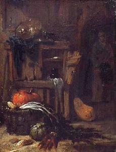 Boerderij-interieur met vrouw met korf