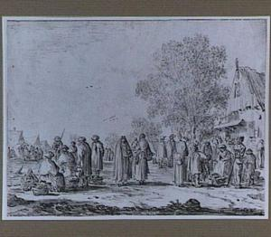 Hoendermarkt in een dorp