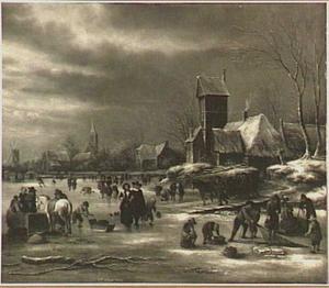 Winterlandschap met ijsvermaak buiten een dorp