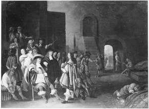 Interieur van een wachtlokaal met een officier en soldaten