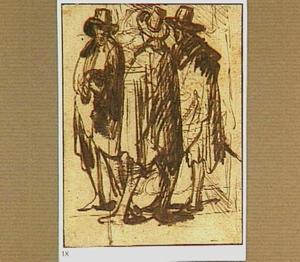 Drie staande mannen, getekend over een vage studie van een interieur