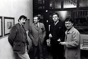 Portret van Karel Appel, Ed Wingen, Herman Krikhaar en Shinkichi Tajiri