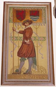 Schutter met vaandel voorzien van de wapens van de provincies Zuid-Holland en Zeeland