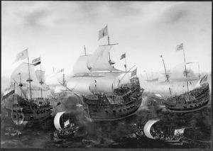 Hollandse en Engelse schepen in gevecht met een Spaans schip