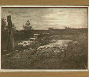 Landschap met stenen brug