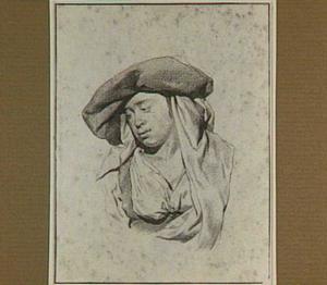 Borststuk van een jonge vrouw, kijkend naaar links