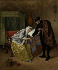 Interieur met een zieke vrouw en een arts die haar pols voelt