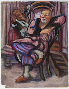 Clowns zittend voor een woonwagen