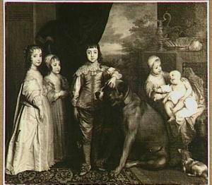 De vijf kinderen van Karel I, staande ten voeten uit, met een dog en een spaniël