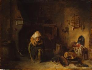 Boerderij-intereur met slapende vrouw