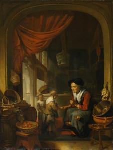 Vrouw met twee kinderen in een interieur
