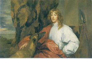 Portret van James Stuart, Duke of Lenox en Richmond, zittend met zijn jachthond