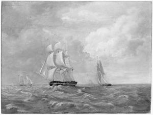 Het fregat Zr.Ms. 'Melampus', onder commando van Vice-Admiraal Th.F. van den Capellen