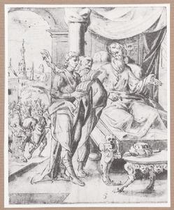 Ahasveros vraagt Haman om raad he de koning een man kan eren (Ester 6:6)
