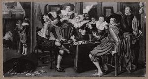 Elegant rokend en drinkend gezelschap aan tafel in een interieur