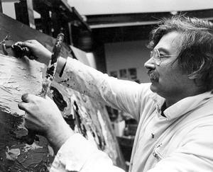 Portret van Karel Appel aan het werk