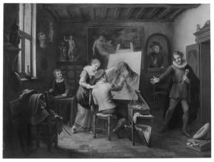 """""""Cornelis Ketel, die met de vingers schilderde, wordt kwaad bescheid gegeven door zijnen borstelmaker"""""""