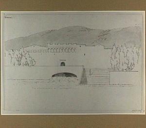 In Florence gesitueerde fantasie-architectuur aan een rivier