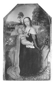 Maria met kind, zittend in een landschap