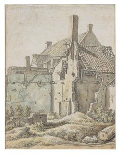 Beschadigde huizen in de 'gein steegh'  te Utrecht