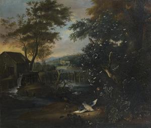 Boslandschap met een watermolen