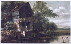Rivierlandschap met wasvrouw bij boerderij