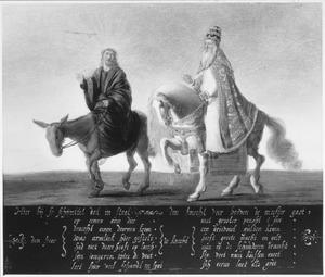 De knecht gaat boven de meester: reformatorische satire van Christus op een ezel en de paus te paard