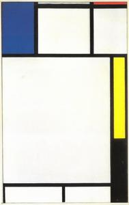 Composition with blue, red, yellow, and black