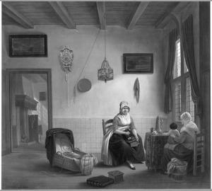 Huiselijk interieur met twee vrouwen en een baby