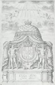 Emblematische voorstelling met een koninklijk wapenschild