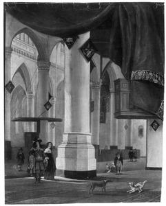 Interieur van een kerk met een trompe-l'oeil geschilderd gordijn