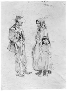 Familie, studie van drie figuren