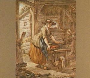 Stalinterieur met vrouw bij een kruiwagen