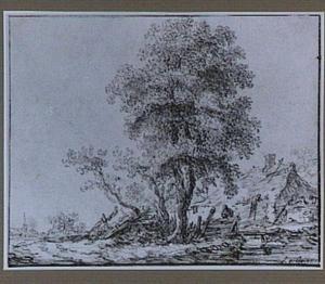 Landschap met boom bij een boerderij